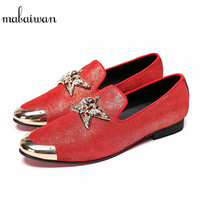 Mabaiwan 2018 Italy Fashion Design Buckle Metal Toe Men Handmade Genuine Leather Casual Shoes Men Flat