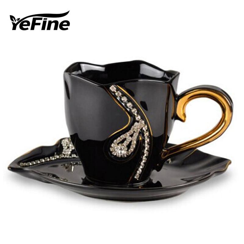 YEFINE Diamonds Design <font><b>Coffee</b></font> Mug <font><b>Creative</b></font> Gift <font><b>Lovers</b></font> Tea <font><b>Cups</b></font> 3D <font><b>Ceramic</b></font> Mugs <font><b>With</b></font> Rhinestones Decoration <font><b>Cups</b></font> And Saucers