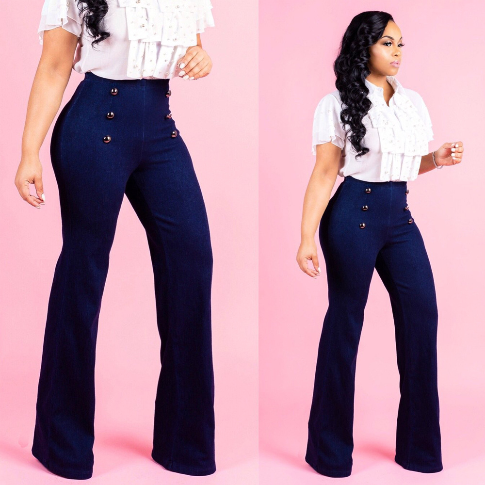 Ladies Casual Denim Flare   Pants   Palazzo Plain Flared   Wide     Leg     Pants   Double Button High Waist Solid Color