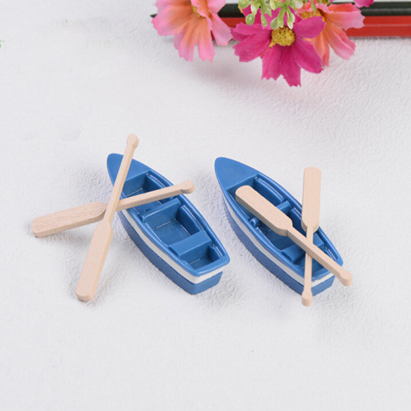 Cute Mini Boat Model Toys For Children Blue Ship Paddle Model Set Wooden Kids Educational Toys 1 Set(1Pcs Boat And 2Pcs Oar)