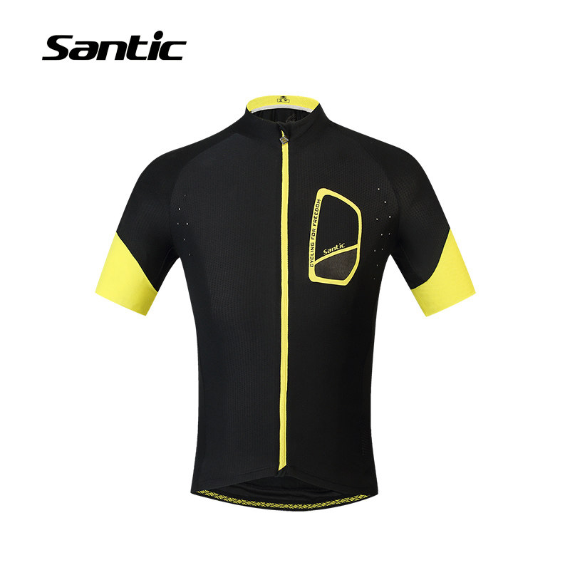 Santic Cycling Jersey Short Sleeve Black Breathable Quick Dry Downhill Jersey DH MTB Bicycle Bike Jerseys Clothing Ropa Ciclismo breathable quick dry bike ropa ciclismo skintight short sleeve cycling jersey clothes gel pad bicycle cycling clothing