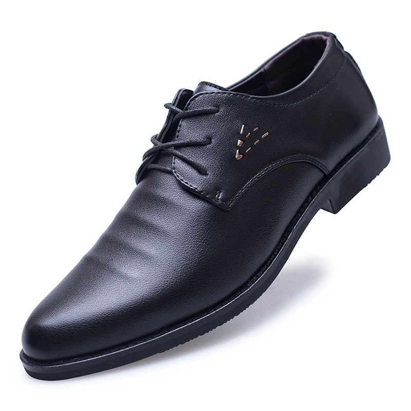 Mazefeng 2018 New Spring Autumn Men Dress Shoes Business Pointed Toe Men Leather Breathable Men Wedding Shoes Male Flats in Formal Shoes from Shoes