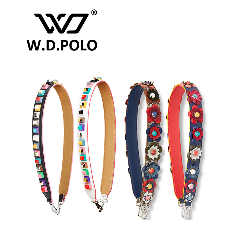 W.D.POLO Own brand logo cow leather women handbag straps lady high chic shoulder bag belts easy matching color patchwork M2520