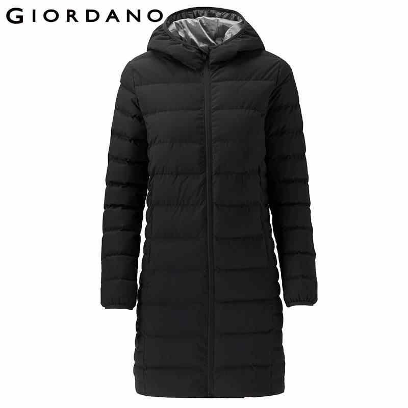 Giordano женский пуховик 90% содержание белый гусиный пух длинный стиль с капюшоном пуховик теплый ветрозащитный на молнии Doudoune Femme