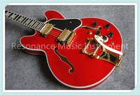Wholesale Glossy Red Finish Suneye ES Jazz Electric Guitar Gold Bigsby Maple Hollow Guitar Body Free Shipping
