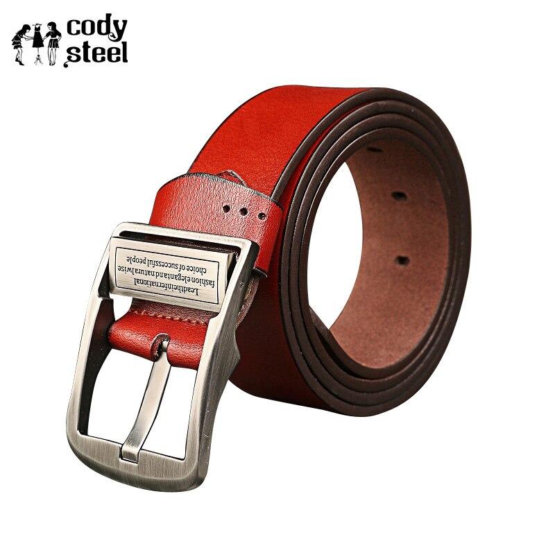 44758893c0f8 Cody Сталь Для мужчин S брендовые кожаные Ремни корова Разделение кожа  ретро Для мужчин Ремни Популярные Повседневное мужской моды Ремни для .