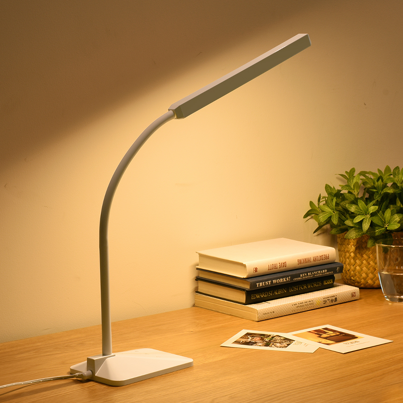 Gooseneck LED Desk Lamp 5-level Dimmer Touch Control Eye Protection Children Bedside Book Reading Study Office Work Table Light