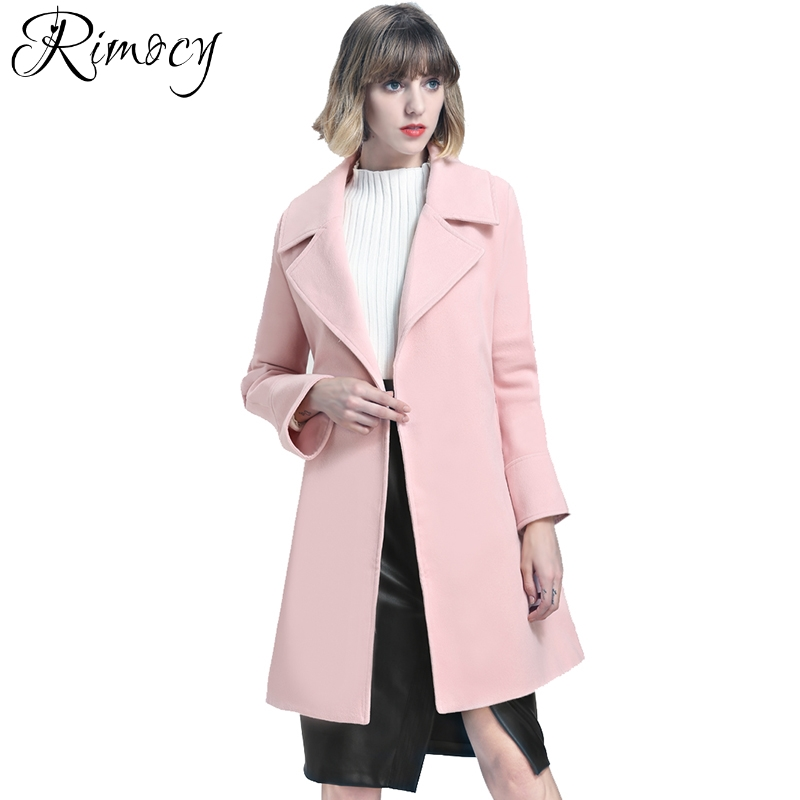 4746cba9be2 Rimocy brand design turn down colloar winter jacket women European fashion  thick warm wool blends casual ladies long coat 2018-in Wool   Blends from  Women s ...