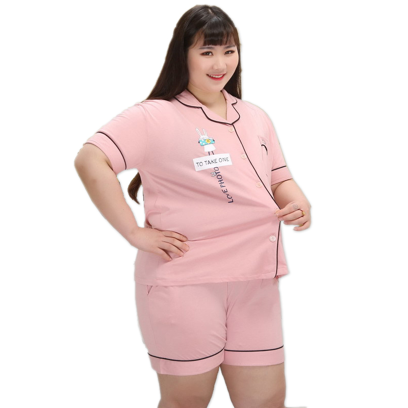 130kg XXXXXL sexy pink short   pajamas     sets   women 100% cotton summer home pijama sleepwear women cute pyjamas Plus size 4XL