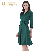 Queenus 2017 Mulheres Se Vestem Primavera Outono Elegante Business Casual Senhora Vestido Plissado Cinto Verde Mulheres Meados de Bezerro Uma Linha De Vestidos