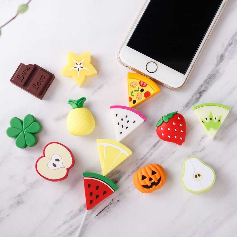 Soft Cute Cartoon Fruit Cable Bite Phone Charger Cable Protector Cord Data Line Cover Decorate Smartphone Wire Accessories