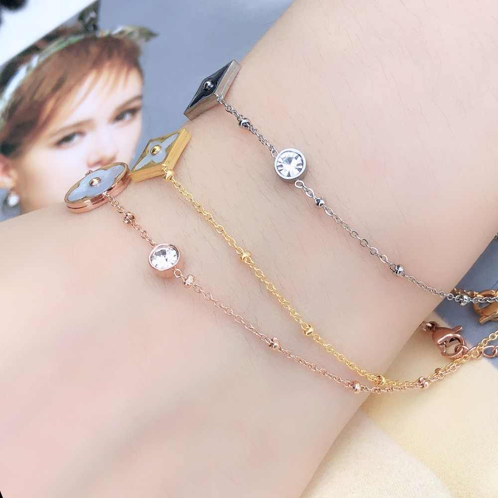 stainless steel bracelets & bangles bracelet for women women gifts charms   female chain linkfriendship braslet