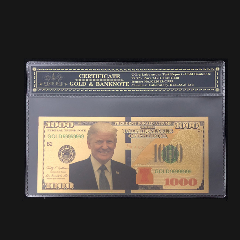 Nice Products For America Trump Banknotes 1000 Dollars Banknotes in 24K Gold With Plastic Frame For Collection And Gift image