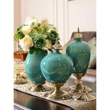 Europe Luxury Ice Crack Ceramic Vase creative tabletop Figurine  Furnishing Articles Crafts Home decoration Wedding Gifts