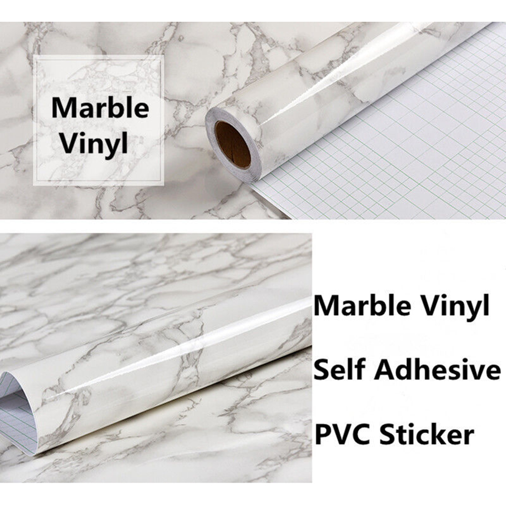 1.22x3m/48x10ft Marble Contact Paper Film Vinyl Wallpaper Sticker, Authentic Marble Look, Durable,Waterproof for Home