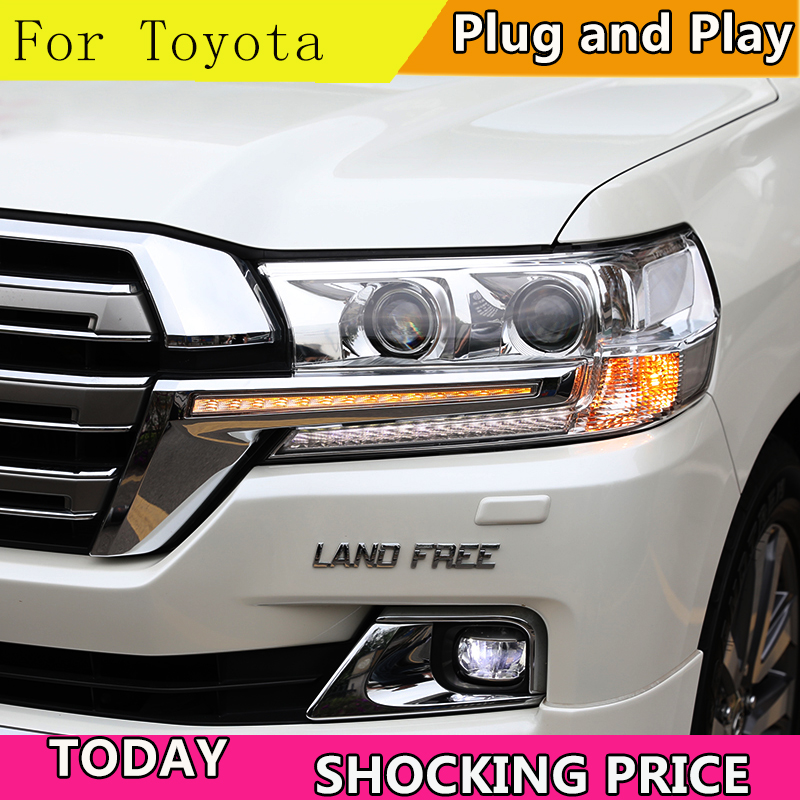 Car Styling For Toyota 16 17 Cruiser headlights For Land Cruiser head lamp led DRL front Led double lens Double Beam
