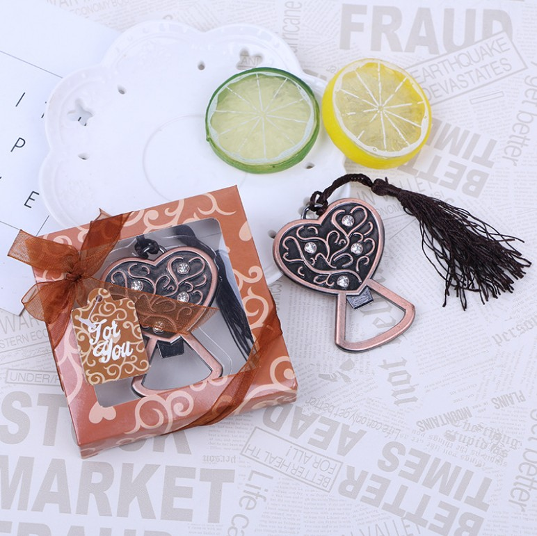 Wedding Souvenirs Beer Bottle Opener Creative Heart Shaped Opener with Gift Box Party Items 20pcs/lot image