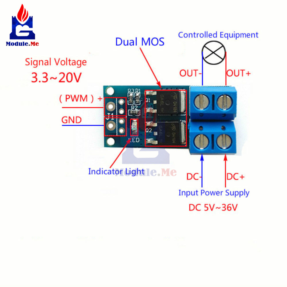 15a 400w Mos Fet Trigger Switch Drive Module Pwm Regulator Touch Using 1 X High Power Control Panel