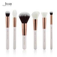 Jessup Pearl White Rose Gold Professional Makeup Brushes Set Make Up Brush Tools Kit Buffer Paint