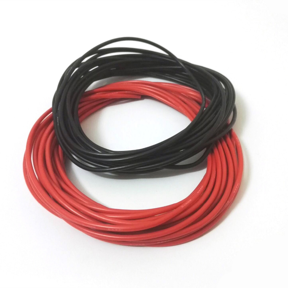 1 meter Rot + 1 meter Schwarz Silicon 10AWG/12AWG/14AWG/16AWG/18AWG ...
