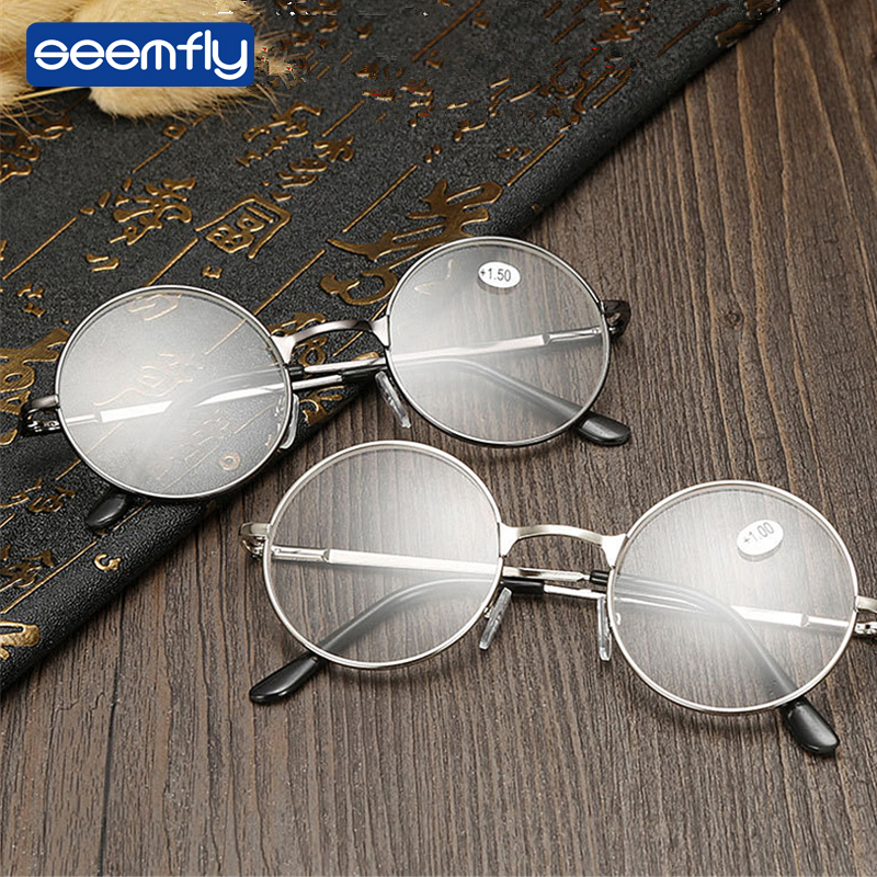 Seemfly Metal Retro Clear Vision Read Glasses Magnifier Round Frame Eyewear Reading Glasses Portable Gift For Parents Presbyopic
