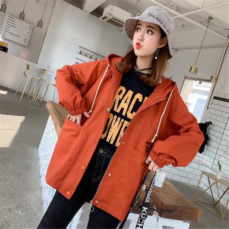 2019 new Windbreaker Womens Jacket Autumn Plus Size Causal Zipper Hooded Loose Basic Jacket Coat Womens Windbreaker HC128