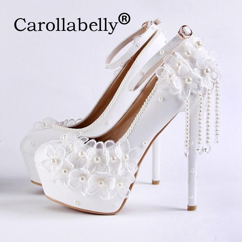 Carollabelly chaussures de mariage fleur poire douce femmes plate-forme escarpins blancs strass bride à la cheville chaussures de mariage à talons hauts