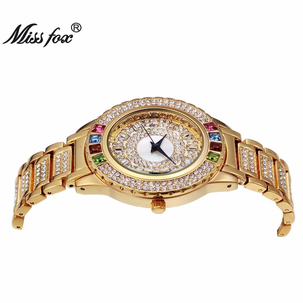 MISSFOX Ladies Gold Party Watches Women Diamond Fashion China Watches Luxury Brand Golden Clock For Ar Female Quartz Wristwatch 2