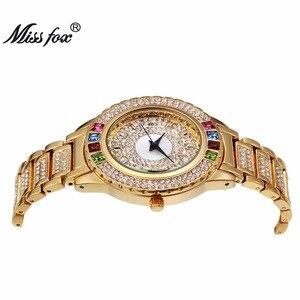 Image 3 - Missfox senhoras festa de ouro relógios mulheres diamante moda china relógios marca luxo relógio de ouro para ar feminino quartzo relógio de pulso