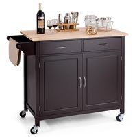 Modern Rolling Kitchen Cart Island with Wooden Top High Quality Smart Compact Design Large Storage Kitchen Trolley Cart HW59426