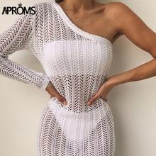 Aproms Elegant One Shoulder White Knitted Crochet Mini Dress Women Summer Hollow Out Beach Bikini Bodycon Dresses 2019 Vestidos