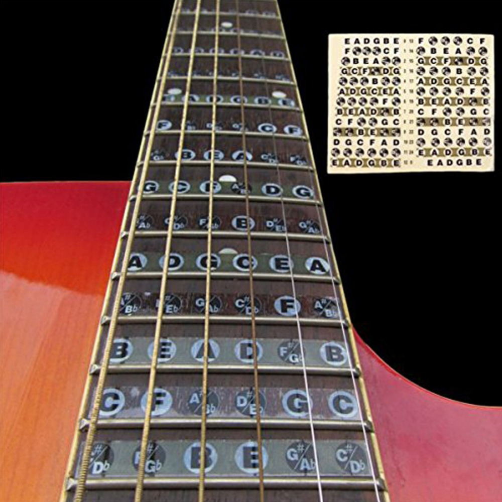 Acoustic Electric Guitar Fretboard Fingerboard Note Sticker Map Frets  Guitarra