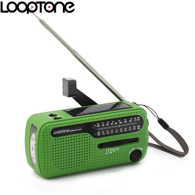 LoopTone Portable FM/AM/SW Radio for Outdoor Emergency Cranking Dynamo/Solar Power Red Light LED Flashlight Siren Phone Charger