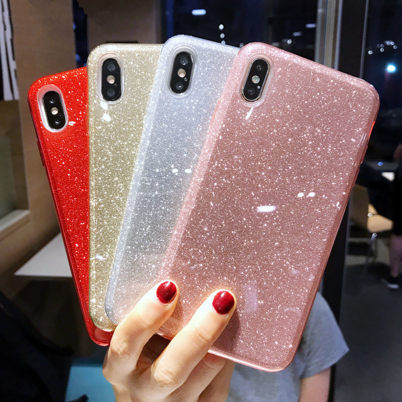 Luxury Stars Glitter Sparkly Thickening Soft Case For IPhone Xs Max Silicone Shockproof Case For Iphone XR 11 Pro Max Girl Case
