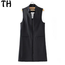 2016 Slim Fit Women Sleeveless Blazer Vest Trench Coat Woven Casual Blazer Long Waistcoat Coat #160301