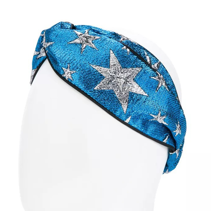 2018 Women Metallic Shiner Silver Stars Crossed Silk Headbands 54-58 CM Size Elastic Luxury Navy Blue Jacquard Hair Accessories ...