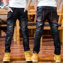 FYH Top Quality Kids Pants Spring Autumn Boys Jeans Boy Kids Elastic Jean Pants Children Cowboy Pants Teenager Jeans Full length