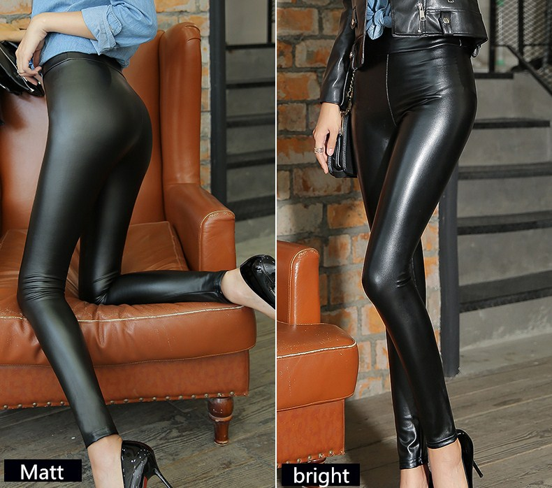 HTB1u0YzXROD3KVjSZFFq6An9pXa7 - Winter Leather Pants For Women Gold Fleeces Warm Thicken Pencil Pants High Waist PU Skinny Leggings Female Fall Trousers P9108