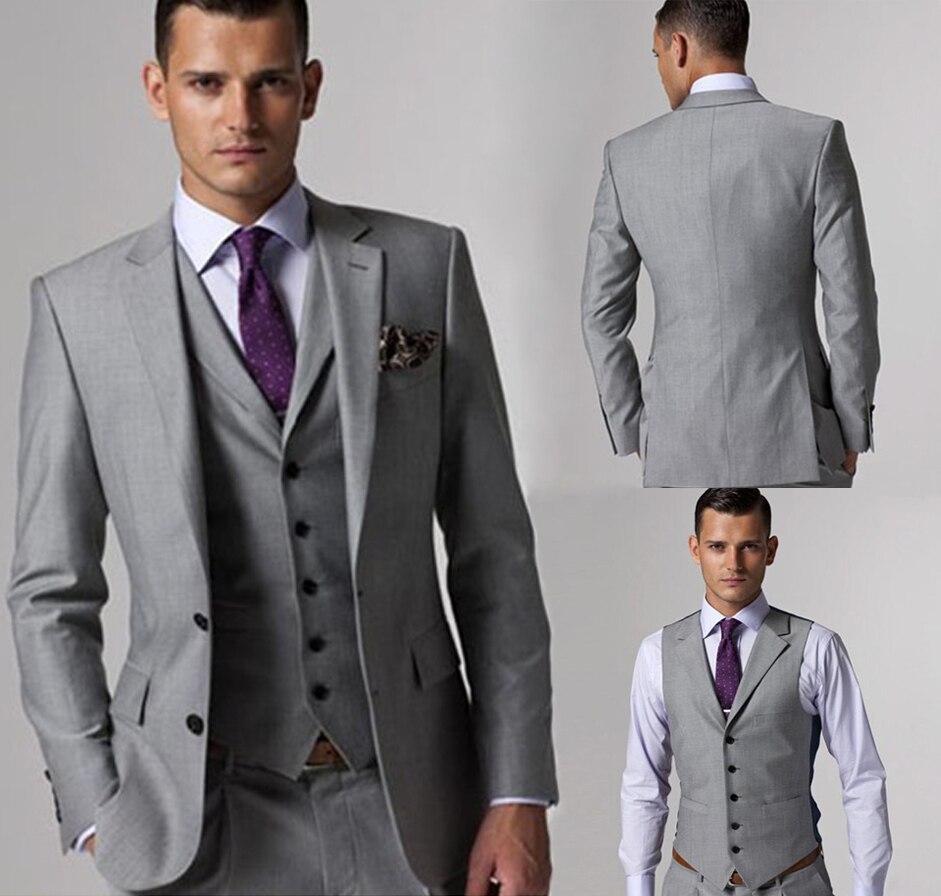 Custom Made Groomsmen Notch Lapel Groom Tuxedos Light Grey Men ...