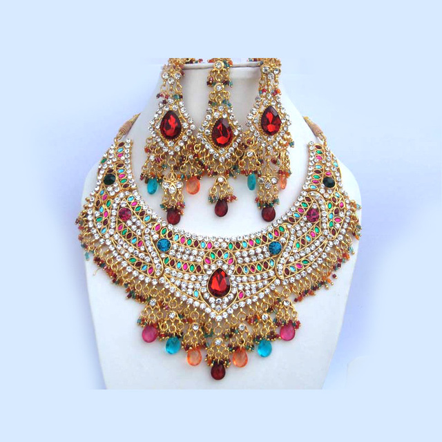 US $102 98 |Free shipping!!! Delicate India Jewelry set luxury accessories  3 piece set Bollywood jewelry set 7 colors-in Bridal Jewelry Sets from