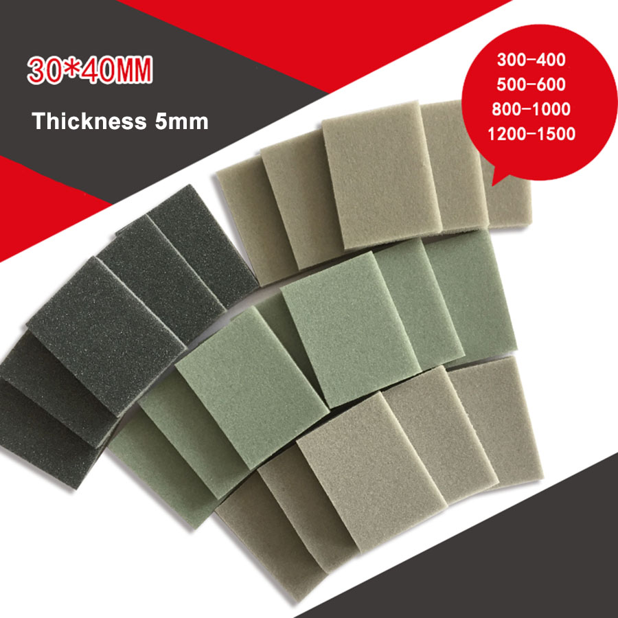 5-20Pcs 30x40mm Square Sponge Sandpaper 300-1500 Grit Fine Polishing Sanding Paper Abrasive Tools High Quality Sandpaper