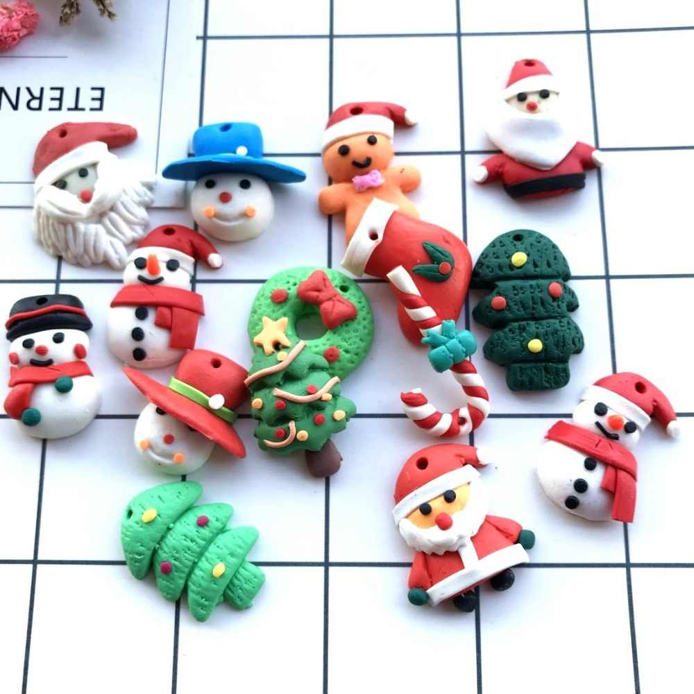 Polymer Clay Christmas Charms.Polymer Clay Flat Back Santa Claus Tree Earring Charms Resin Necklace Pendant Keychain Charms For Christmas Diy Decoration