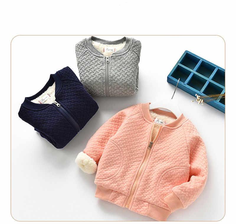 Коллекция 2018 года, осенне-зимние куртки для девочек детские повседневные плотные парки для мальчиков бархатная верхняя одежда для малышей хлопковое пальто для новорожденных