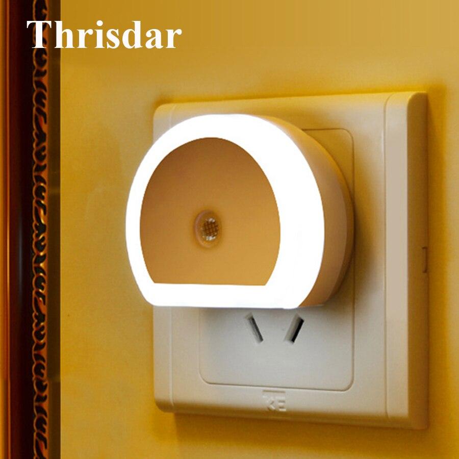 Thrisdar LED Night Light With Dual USB Port 5V 1A Dusk To Dawn Sensor USB Plug Wall Charger Lamp Bedroom Baby Sleeping Light