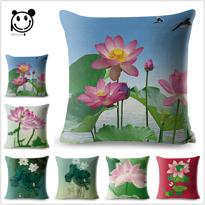 Lotus Watercolor Home Office Cushion Cover Colorful Floral