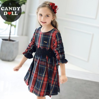 CANDYDOLL Autumn New Kids Plaid Dress With Black Lace Girl Dresses Lotus Leaf Long Sleeve Girls Dresses 3 4 5 6 7 8 9 10 Years girl