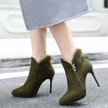Winter Autumn Shoes Women Ladies Shoes Pumps 2016 Pointed Sexy High Heels Autum Short Ankle Boots Woman Shoes Black/Army Green