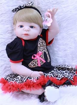 "NPK Reborn doll toys wholesale 22"" Full Body Silicone girl dolls  princess Toddler Babies Doll Birthday Gift bebe alive reborn"