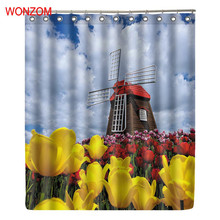 WONZOM 3D Windmill Polyester Shower Curtain with 12 Hooks For Bathroom Decor Modern Bath Waterproof Accessories