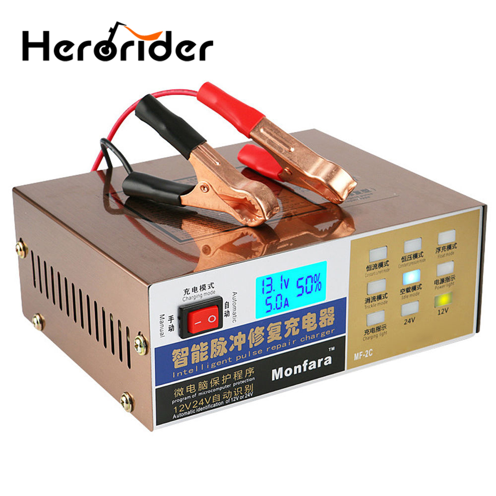Smart Automatic 12V/24V Car Battery Charger For Lead Acid Battery 6-100Ah Motorcycle Car Battery Charging Intelligent Repair